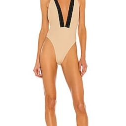 Michael Costello x REVOLVE Talliah One Piece in Nude & Black from Revolve.com | Revolve Clothing (Global)