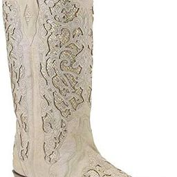 Corral Women's White Glitter Inlay & Crystals White Cowgirl Boots,   Amazon (US)