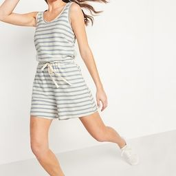 Waist-Defined Sleeveless Striped Terry Beach Romper for Women -- 4-inch inseam   Old Navy (US)