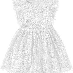 Niyage Toddler Girls Elegant Lace Pom Pom Flutter Sleeve Party Princess Dress | Amazon (US)