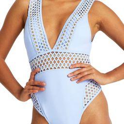 River Island Plunge Neck Metallic One-Piece Swimsuit (Plus Size)   Nordstrom   Nordstrom