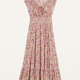 Smocked Waist-Defined Floral-Print Midi Dress for Women   Old Navy (US)