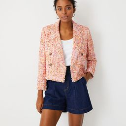 Fringe Tweed Cropped Double Breasted Blazer   Ann Taylor   Ann Taylor (US)