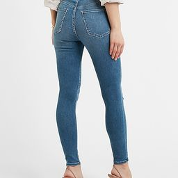 Super High Waisted Dark Wash Ripped Skinny Jeans   Express