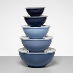 5pc Plastic Mixing Bowl Set with Lids Blue - Made By Design™ | Target