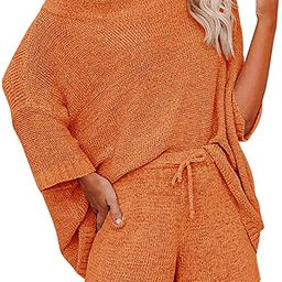 Mafulus Women's 2 Piece Outfits Sweater Set Off Shoulder Knit Top + Drawstring Waist Short Suits ... | Amazon (US)