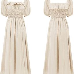 R.Vivimos Women Summer Half Sleeve Cotton Ruffled Vintage Elegant Backless A Line Flowy Long Dres... | Amazon (US)