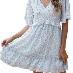 Manydress Women's Summer Floral Print V Neck Casual Mini Boho Ruffle Swing Dress MY068 | Amazon (US)