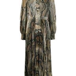 tie-neck snakeskin-print pleated dress   Farfetch (US)