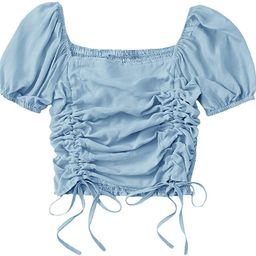 SheIn Women's Puff Short Sleeve Square Neck Shirred Drawstring Crop Blouse Top | Amazon (US)