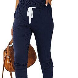 PRETTYGARDEN Women's Casual Solid Sleeveless Jumpsuit Crewneck Drawstring Waist Stretchy Long P... | Amazon (US)
