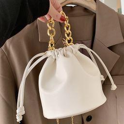 Drawstring Chain Bucket Bag | SHEIN