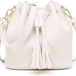 Dolce Na Womens Mini Bucket Bag Leather Drawstring Purse Tassel Crossbody Shoulder Bag | Amazon (US)