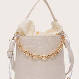 Chain Decor Croc Embossed Bucket Bag | SHEIN