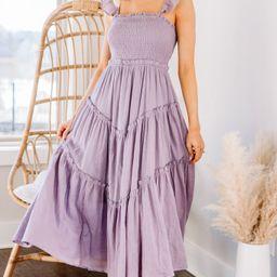 Pleasant Views Lavender Purple Smocked Midi Dress | The Mint Julep Boutique