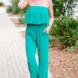 It's Your Day Jade Green Strapless Jumpsuit | The Mint Julep Boutique