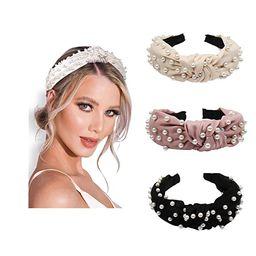Pearl Headbands Knotted Headbands for Women 3 Colors, Knot Turban Headband Fashion Hair Bands Wid...   Amazon (US)