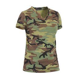 Womens Long Length V-Neck Camouflage T-Shirt, Woodland Camo | Walmart (US)