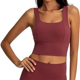 Loovoo Women Padded Sports Bra Fitness Workout Running Shirts Yoga Tank Top   Amazon (US)