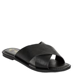 Melrose Ave Vegan Leather Crossband Flat Slide Sandal (Women's) | Walmart (US)