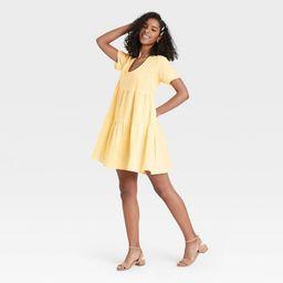 Women's Flutter Short Sleeve Tiered Dress - A New Day™   Target