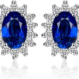 JewelryPalace Princess Diana Kate Middleton Class Gemstone Birthstone Cleated Sapphire Simulated ... | Amazon (US)