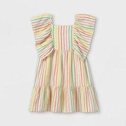 Girls' Striped Flutter Sleeve Woven Dress - Cat & Jack™ | Target