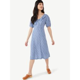 Free Assembly Women's Ruffle V-Neck Dress with Short Sleeves   Walmart (US)