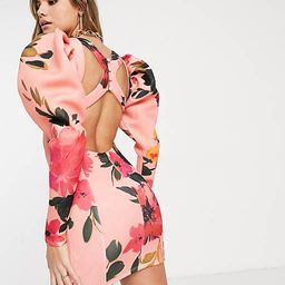 ASOS DESIGN statement sleeve cut out mini dress in floral print | ASOS (Global)