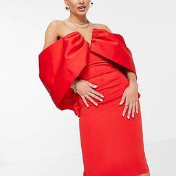 ASOS DESIGN off shoulder V wire draped sleeve midi pencil dress in red | ASOS (Global)