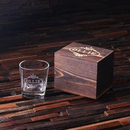 Whiskey Scotch Glass Set with Wood Box   Etsy   Etsy (US)
