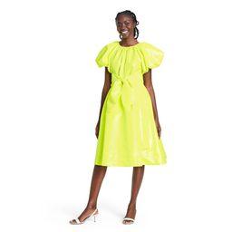 Puff Sleeve Tie Waist Volume Dress - Christopher John Rogers for Target Yellow M   Target