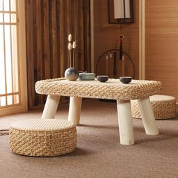 TABLE SET: rectangular low wood table plus two cushions tea | Etsy | Etsy (AU)
