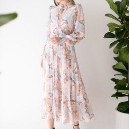 Pink Lily Blossom Chiffon Maxi Dress   Chicwish