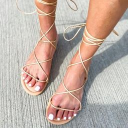 'Hannah' Lace-Up Strappy Thong Sandals   Goodnight Macaroon