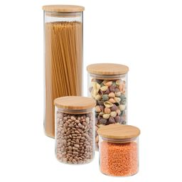 Mainstays 4-Piece Glass Kitchen Canister Set with Bamboo Lids | Walmart (US)