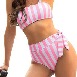 Blooming Jelly Womens High Waisted Bikini Set Tie Knot Bathing Suit Striped Hi Rise Two Piece Swi...   Amazon (US)