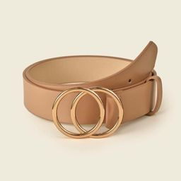 SHEIN BASICS Double O-Ring Buckle Faux Leather Belt | SHEIN