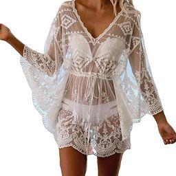 Bsubseach Women Casual Bikini Swimsuit Cover Up Blouses Beach Tunic Dress One Size   Amazon (US)