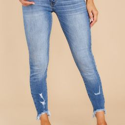 In My Zone Medium Wash Distressed Skinny Jeans | Red Dress