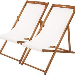 Beach Sling Chair Set Patio Lounge Chair Patio Furniture Outdoor Reclining Beach Chair Wooden Fol... | Amazon (US)