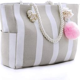 Large Canvas Shoulder Bag - Beach Tote with Cotton Rope Handles and Cute Pompom | Amazon (US)