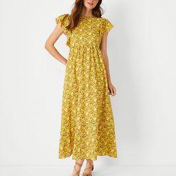 Palm Tree Ruffle Sleeve Flare Dress | Ann Taylor | Ann Taylor (US)
