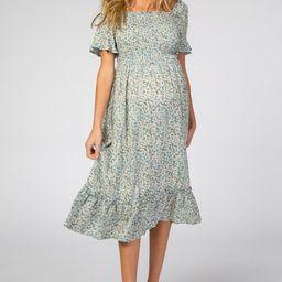 Light Blue Floral Ruffle Maternity Midi Dress | PinkBlush Maternity