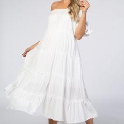 White Off Shoulder Tiered Maternity Midi Dress | PinkBlush Maternity