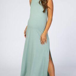 Light Olive Side Slit Maternity Maxi Dress | PinkBlush Maternity
