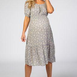 Grey Floral Scoop Neck Bubble Sleeve Maternity Midi Dress | PinkBlush Maternity