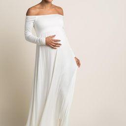 PinkBlush Ivory Solid Off Shoulder Maternity Maxi Dress | PinkBlush Maternity