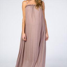 Mauve Ruffle Linen Maternity Maxi Dress | PinkBlush Maternity