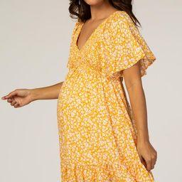 Yellow Floral Smocked Ruffle Maternity Dress | PinkBlush Maternity